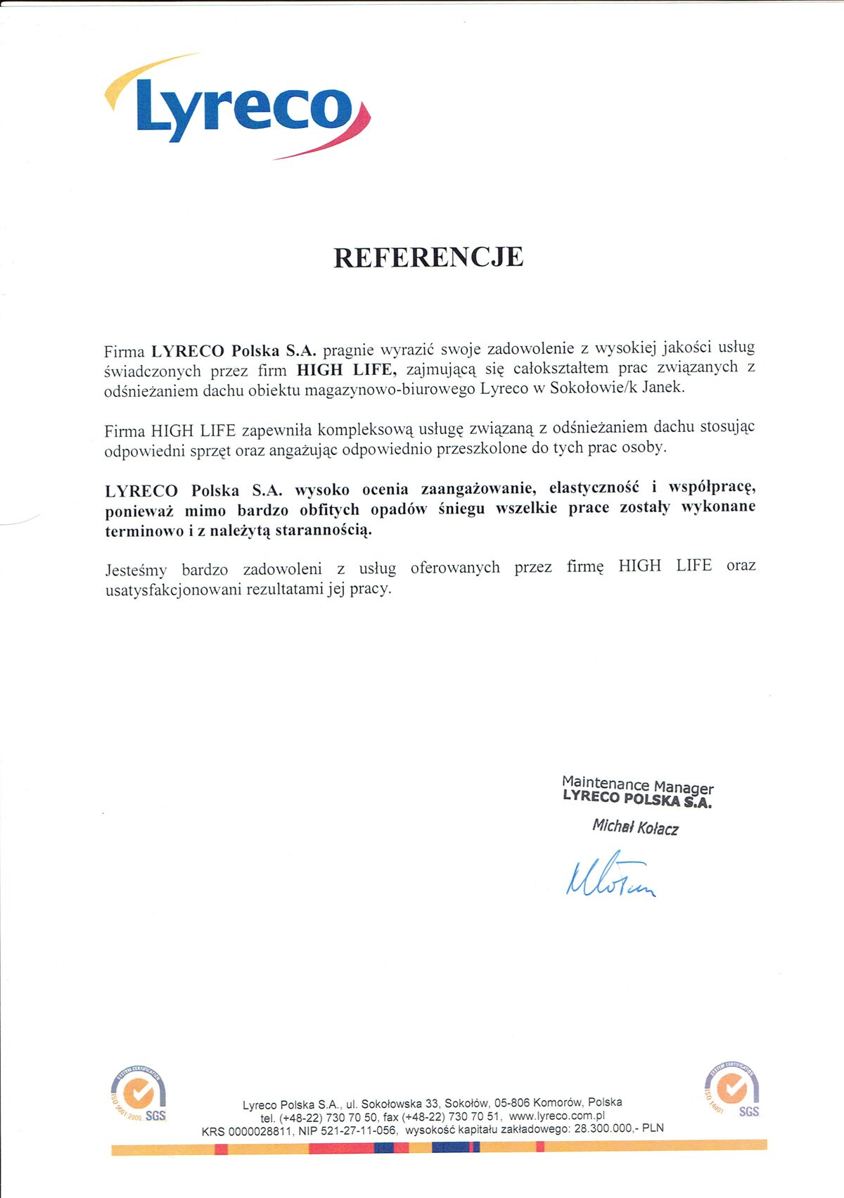 Lyreco—referencje